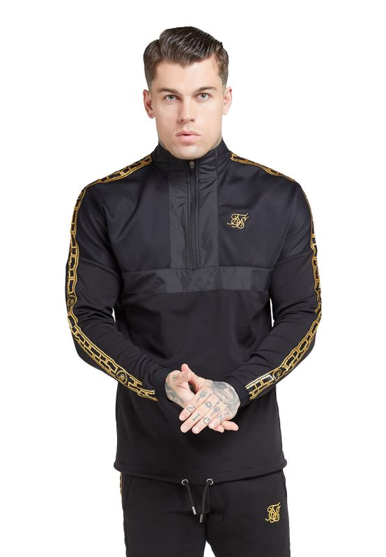 SikSilk Sweater Herren EVOLUTION HALF ZIP TRACK TOP SS-15847 Black/Gold Ansicht