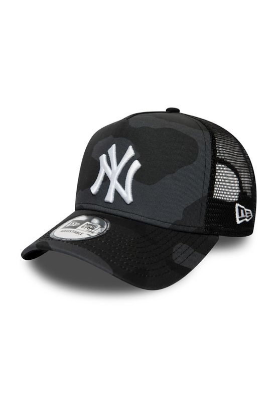 New Era Kinder Camo Essential KTD 9Forty Trucker Cap NY YANKEES Grau Camouflage Ansicht