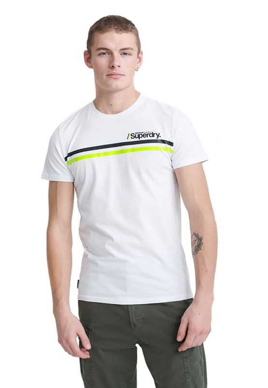 Superdry T-Shirt Herren CORE LOGO SPORT STRIPE TEE Optic Ansicht