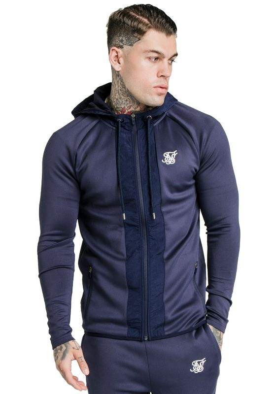 SikSilk Sweatjacke Herren CREASED NYLON ZIP THROUGH SS-16298 Navy Ansicht