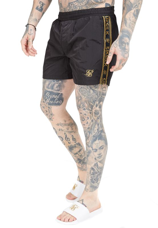 SikSilk Shorts Herren CRUSHED NYLON TAPE SHORT SS-15537 Black Ansicht