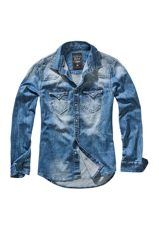 Brandit Hemd RILEY DENIM SHIRT BD4020 Blue Washed Ansicht