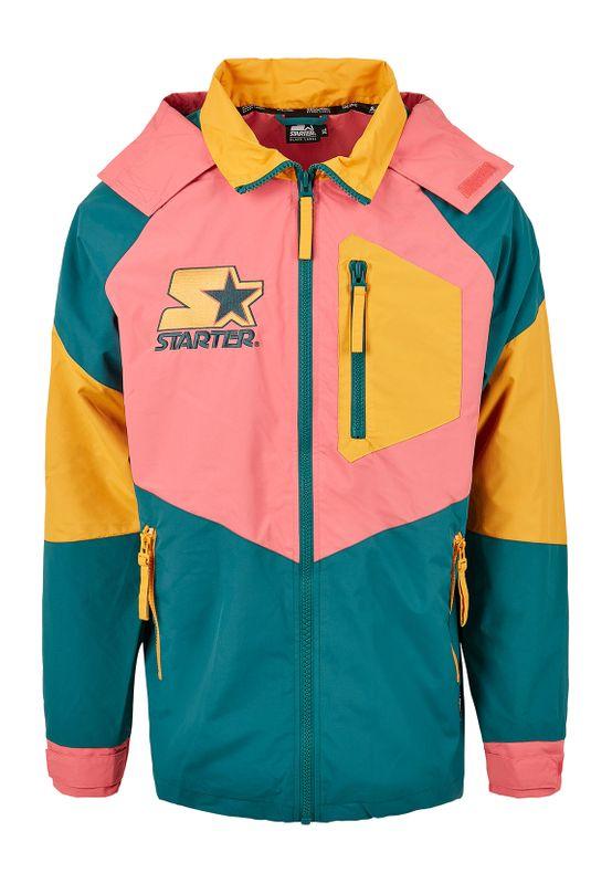 Starter Jacke MULTICOLORED LOGO JACKET ST029 Green/Yellow/Pink Ansicht