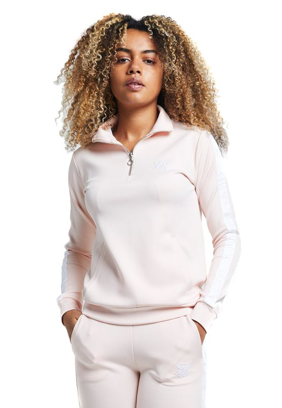 SikSilk Sweater Damen 1/4 ZIP TAPE TRACK TOP SSW-1426 Cloud Pink Ansicht