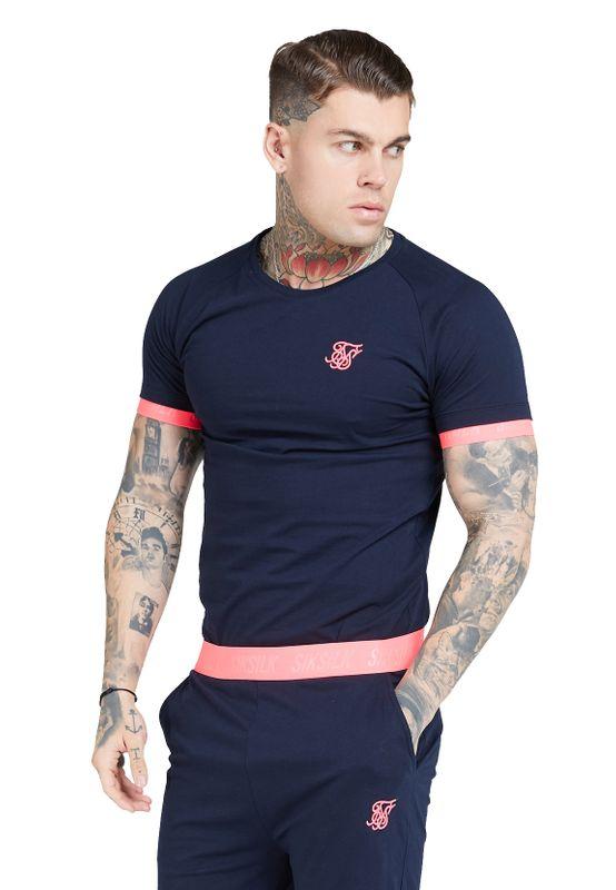 SikSilk T-Shirt Herren NEON TECH TEE SS-16168 Navy Neon Pink Ansicht