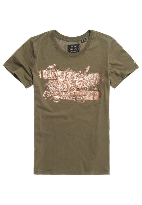 Superdry T-Shirt Damen THE REAL FOIL SEQUIN ENTRY TEE Olive Night Ansicht