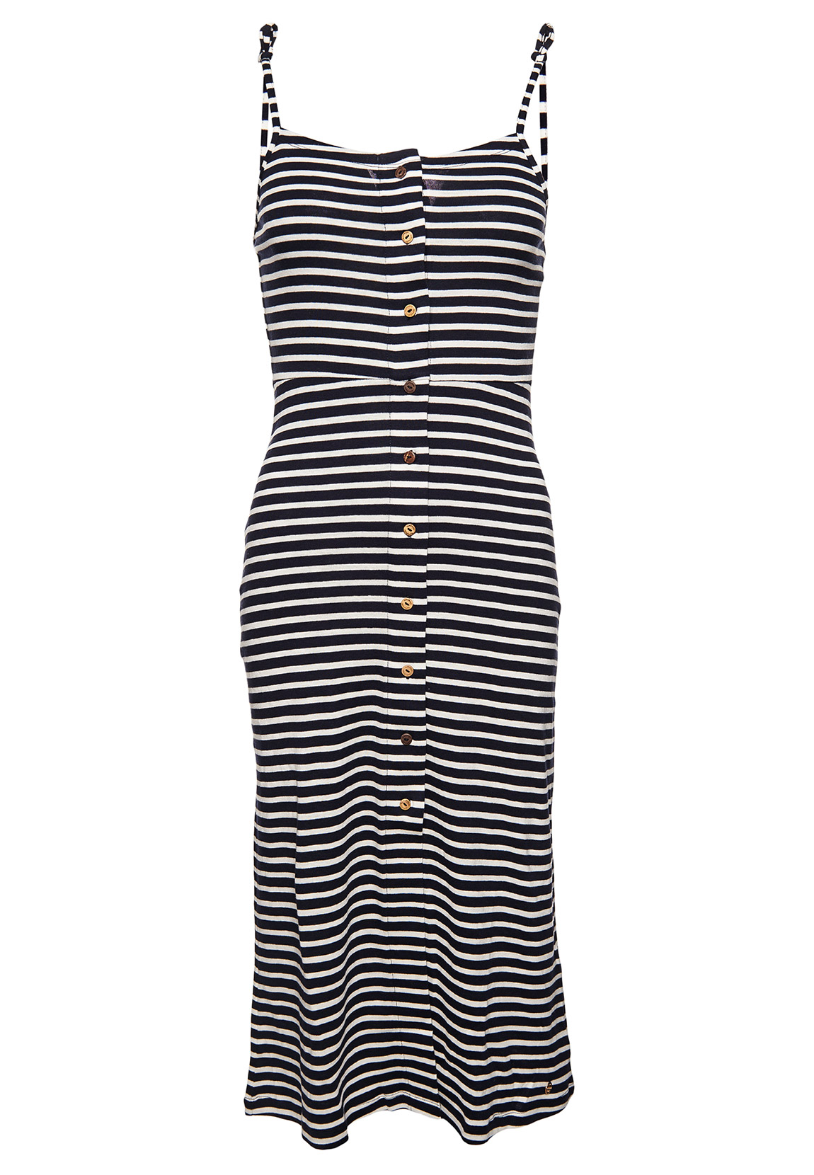 Superdry Kleid Damen CHARLOTTE BUTTON DOWN DRESS Navy Stripe