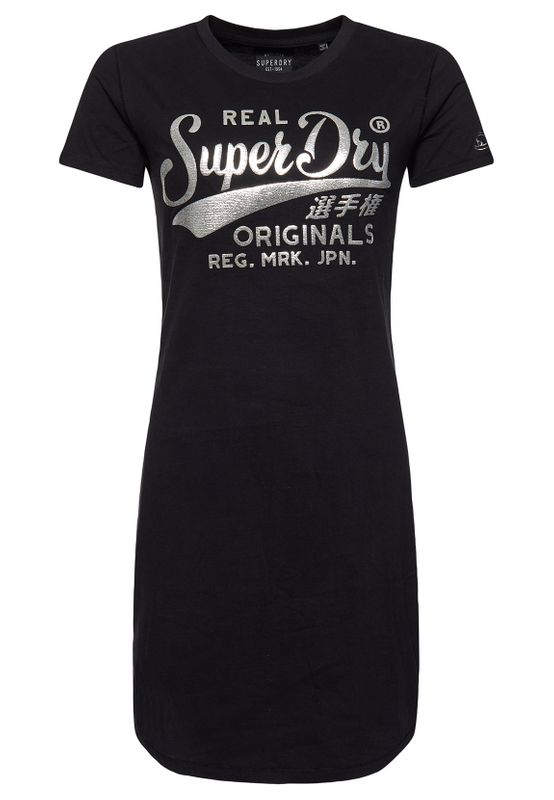 Superdry Kleid Damen CORE T-SHIRT DRESS Black Ansicht