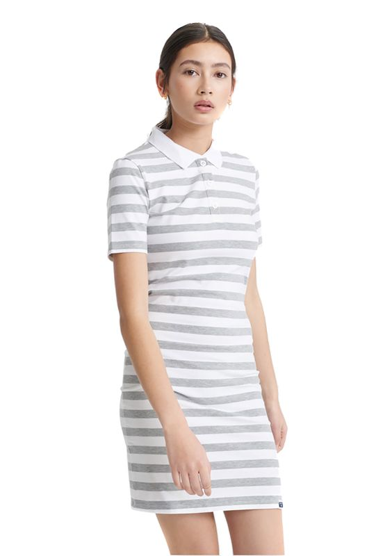 Superdry Kleid Damen TILLY BODYCON RUGBY DRESS Grey Stripe Ansicht