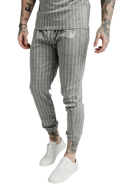 SikSilk Hose Herren SMART CUFF PANTS SS-17370 Grey Pinstripe Ansicht