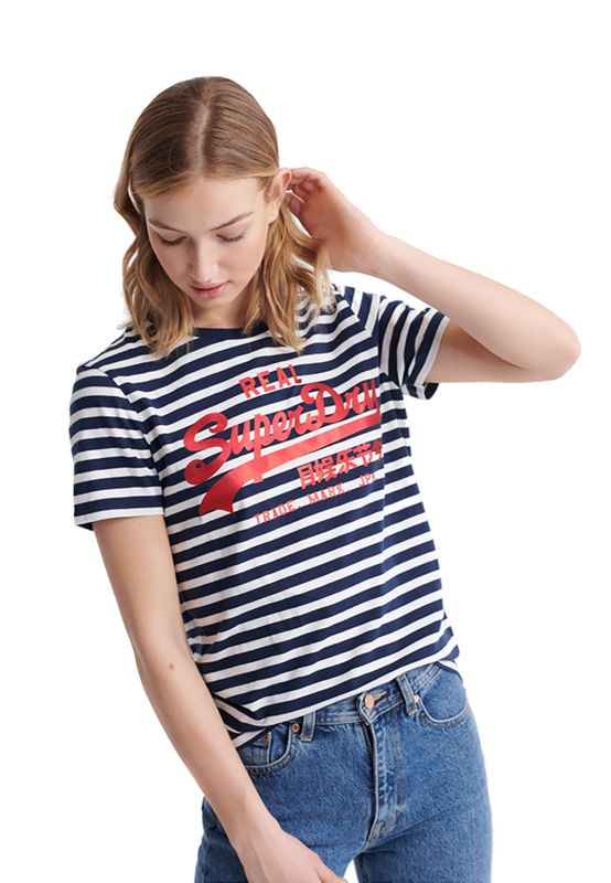Superdry T-Shirt Damen VL SATIN STRIPE ENTRY TEE Navy Stripe Ansicht