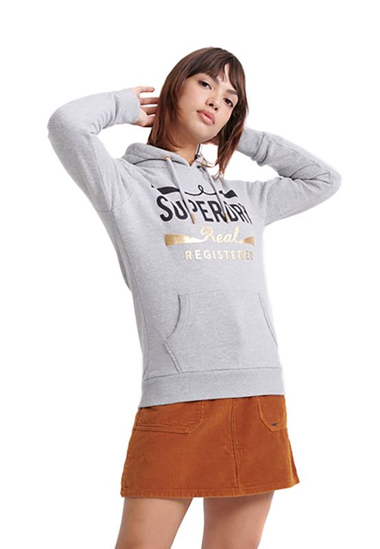 Superdry Hoody Damen MONO REAL ENTRY HOOD Grey Heathered Ansicht