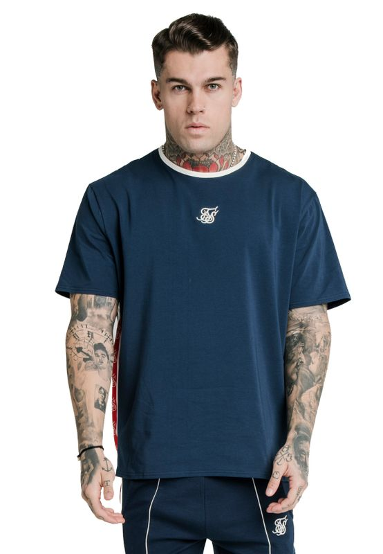 SikSilk T-Shirt Herren S/S ESSENTIAL RETRO TAPE TEE SS-17036 Navy Ansicht