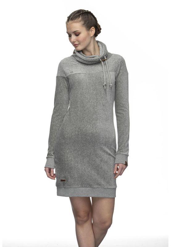 Ragwear Kleid Damen CHLOE VELVET 2021-20025 Grau Grey 3000 Ansicht