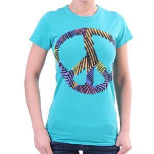 Junk Food T-Shirt Women - Peace Sign - Türkis – Bild 0