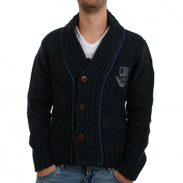Japan Rags Cardigan Men - BURGOS - Navy – Bild 1