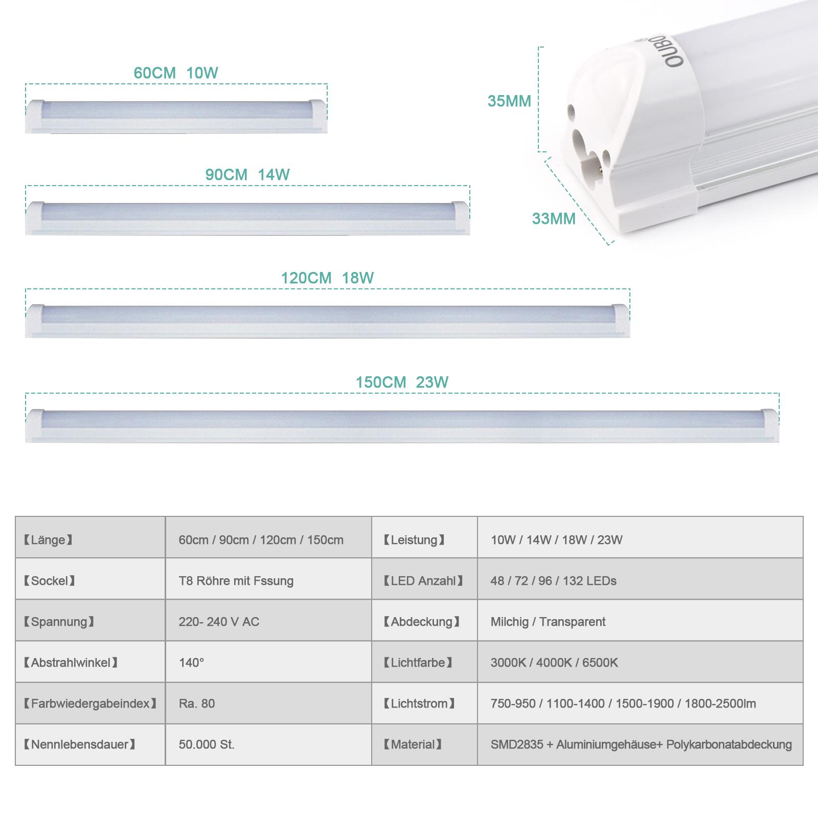10x led leuchtstoffr hre 150cm t8 leuchtstofflampe. Black Bedroom Furniture Sets. Home Design Ideas