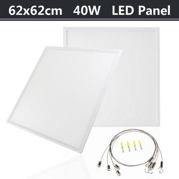 LED Panel 62x62cm 40W im weißen Rahmen Kronleuchter Pendelleuchte Hängeleuchte inkl. Aufhängeset
