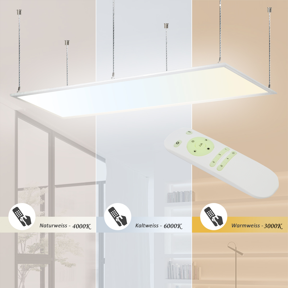 led deckenlampe dimmbar 120x30 deckenleuchte panel 2700k 6500k mit fernbedienung ebay. Black Bedroom Furniture Sets. Home Design Ideas
