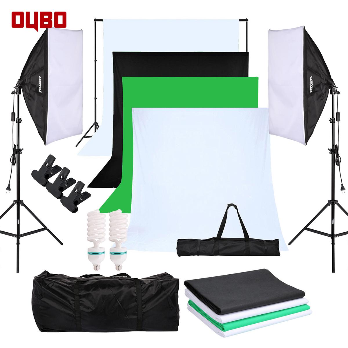 Details zu OUBO Fotostudio Set Hintergrund 4xHintergrundstoff Studioleuchte  Lampe Softbox