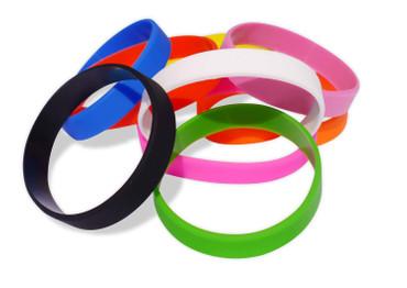Bunte Silikonarmbänder, unbedruckte Gummiarmbänder in Erwachsenengröße (Umfang 202mm, Breite 12mm) 9 Farben – Bild 1