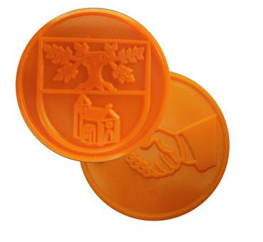 Pfandmarken ø30mm mit individueller Gravur zweiseitig. Verwendbar auch als Wertmarken, Token, Getränkemarken oder Biermarken