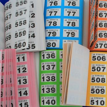 Doppelnummern, Lose, Gewinnlose Garderobenmarken für Tombola Garderoben und Veranstaltungen im Block nicht Röllchenlose – Bild 1