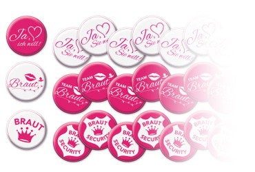 10 er Set JGA Buttons, Jungesellinenabschied Hen Party Anstecker – Bild 1