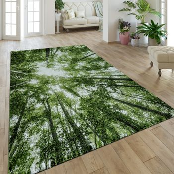 Modern Short Pile Rug Greenery Natural Look Forest Look Green White – Bild 1