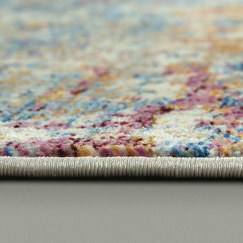 Designer Vintage Rug Abstract Design Blue Cream Pink Multicoloured – Bild 2