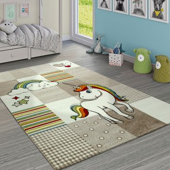 Children's Rug children's Room Checked Unicorn Rainbow Beige Cream – Bild 1