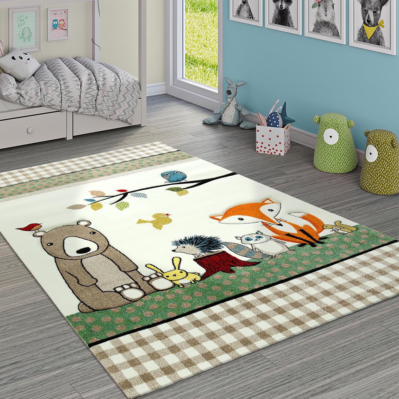 Kinderteppich Karo Muster Wald Tiere Bär Und Fuchs Beige Creme Grün