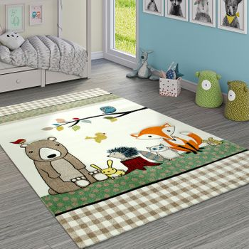 Children's Rug Checked Pattern Forest Animals Bear And Fox Beige Cream Green – Bild 1