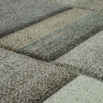 Designer Teppich Modern Konturenschnitt Pastellfarben Kariert Beige – Bild 2