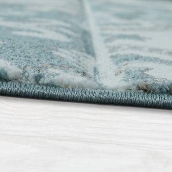 Designer Rug Modern Contour Cut Pastel Colours Check Orient Pattern Blue – Bild 2