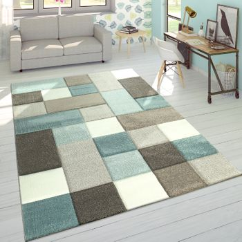 Rug Checked Pastel Beige Blue