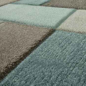 Designer Teppich Modern Konturenschnitt Moderne Pastellfarben Kariert Beige Blau – Bild 3