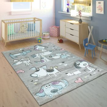 Children's Rug Pastel Colours Cute Dogs Hearts Design Beige Turquoise Pink – Bild 1