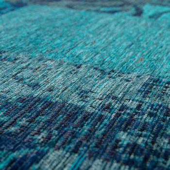 Alfombra Patchwork Pelo Corto Salón Moderna Estilo Vintage Floral Azul Turquesa – Bild 3