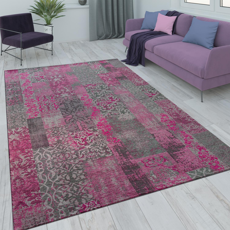 Patchwork Kurzflor Teppich Wohnzimmer Moderne Vintage Optik Floral Rosa Pink