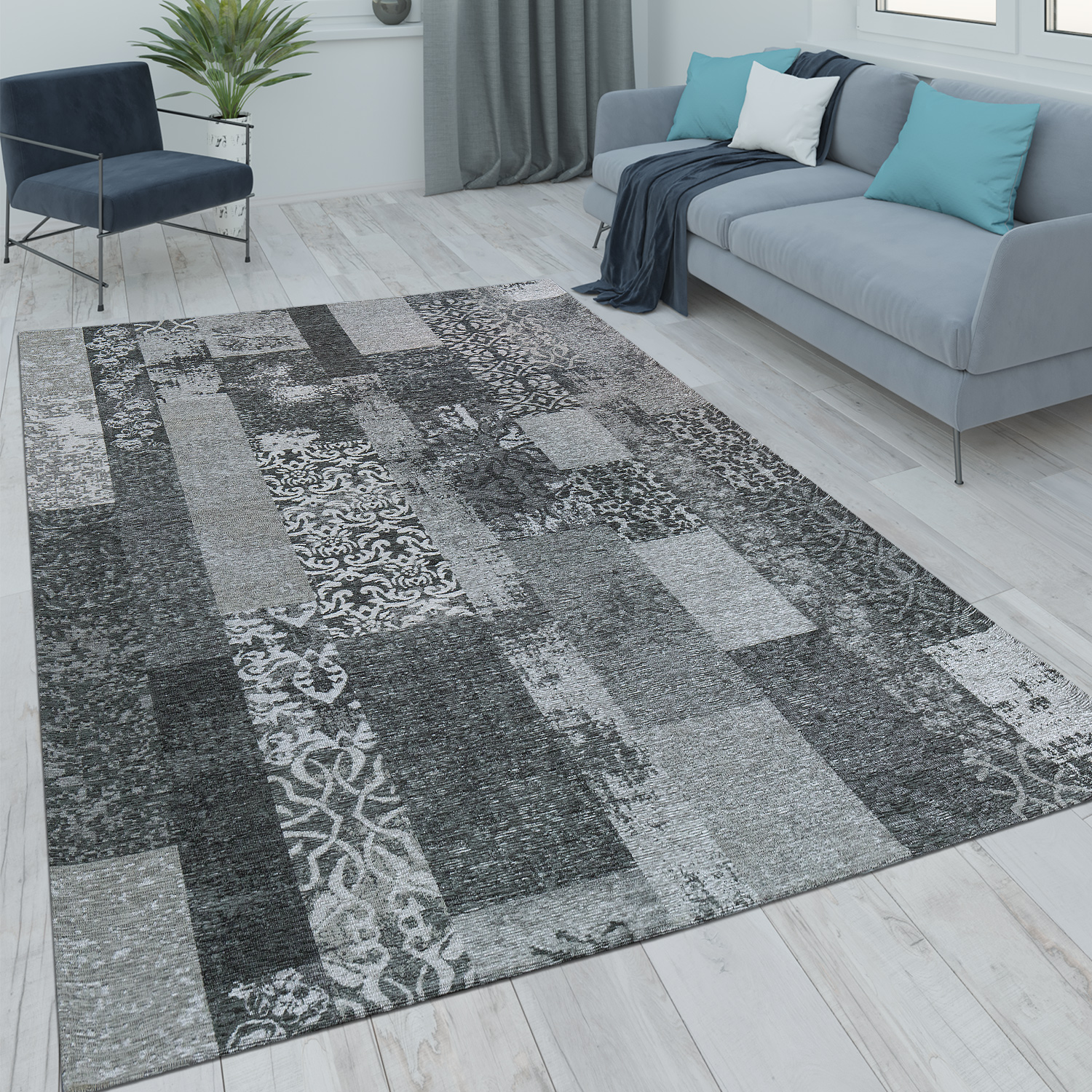 tapis poils ras patchwork salon moderne aspect vintage floral gris noir tapis tapis vintage. Black Bedroom Furniture Sets. Home Design Ideas
