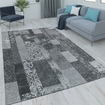 Patchwork Short Pile Rug Living Room Modern Vintage Look Floral Grey Black – Bild 1