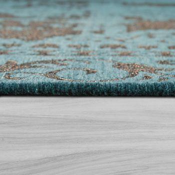 Oriental Short Pile Rug Living Room Modern Vintage Look Turquoise Beige – Bild 2