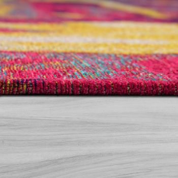 Short Pile Living Room Rug Painted Effect Red Yellow Blue Multicoloured – Bild 2