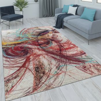 Short Pile Living Room Rug Unusual Design Abstract Red Multicoloured – Bild 1