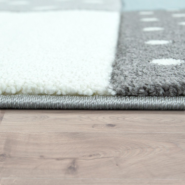 kinderteppich pastellfarben kariert punkte herzen sterne wei grau blau kinderteppiche. Black Bedroom Furniture Sets. Home Design Ideas