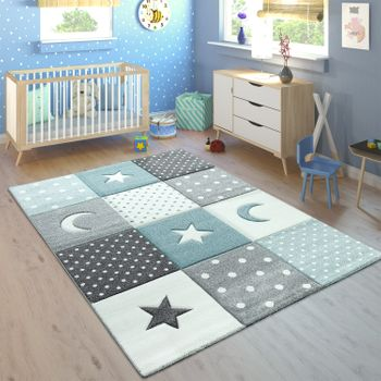 Children's Rug Pastel Colours Checked Dots Hearts Stars White Grey Blue – Bild 1
