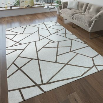 Short Pile Living Room Rug Geometric Pattern Modern Beige Cream – Bild 1