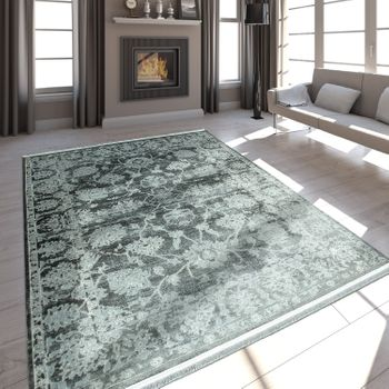 High-Quality Living Room Rug Modern Satin Look Baroque Design Fringes Grey – Bild 1