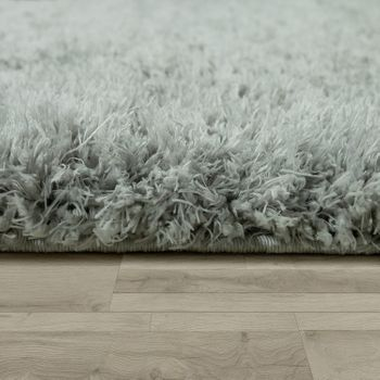 Upcycling Tapis Poils Hauts Moelleux Moderne Shaggy Style Flokati Uni Gris – Bild 2